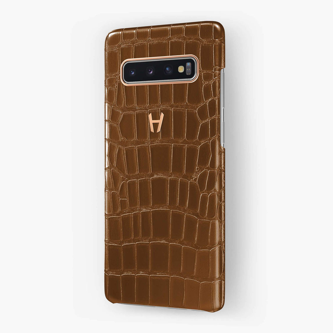 Alligator Case Samsung S10 | Cognac - Rose Gold
