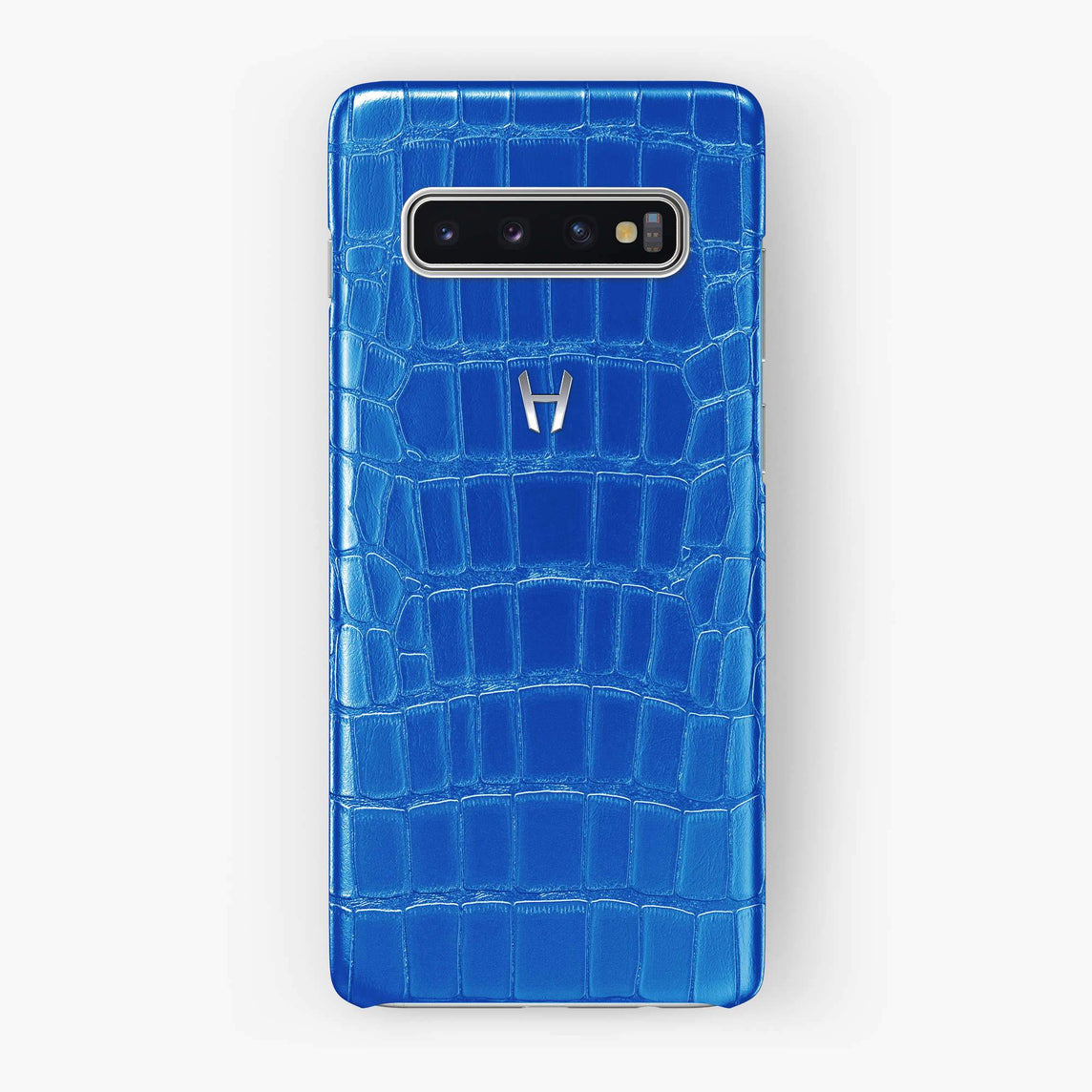 Alligator Case Samsung S10 | Peony Blue - Stainless Steel