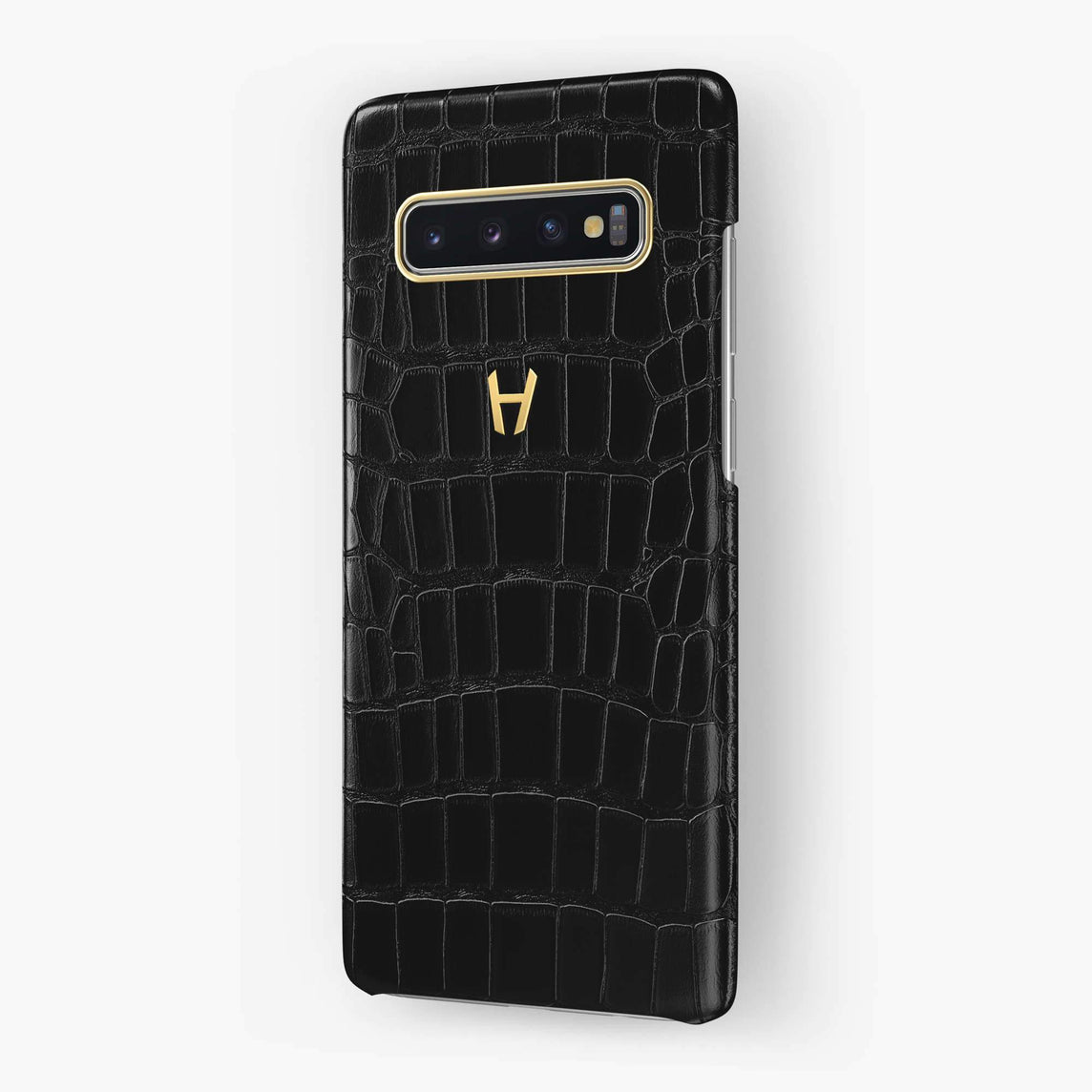 Alligator Case Samsung S10 | Black - Yellow Gold