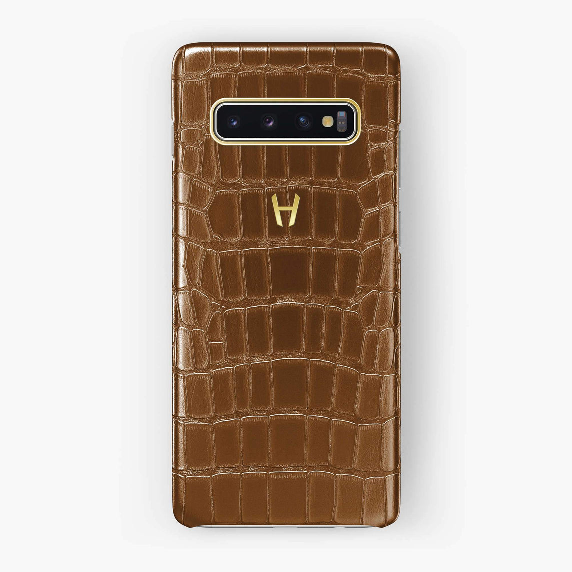 Alligator Case Samsung S10 Plus | Cognac - Yellow Gold