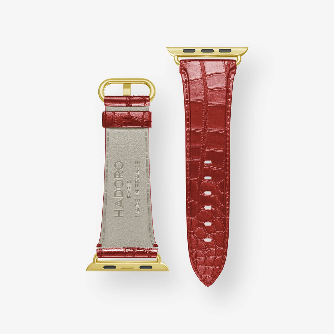 Alligator Apple Watch Strap 38mm-40mm | Red - Yellow Gold