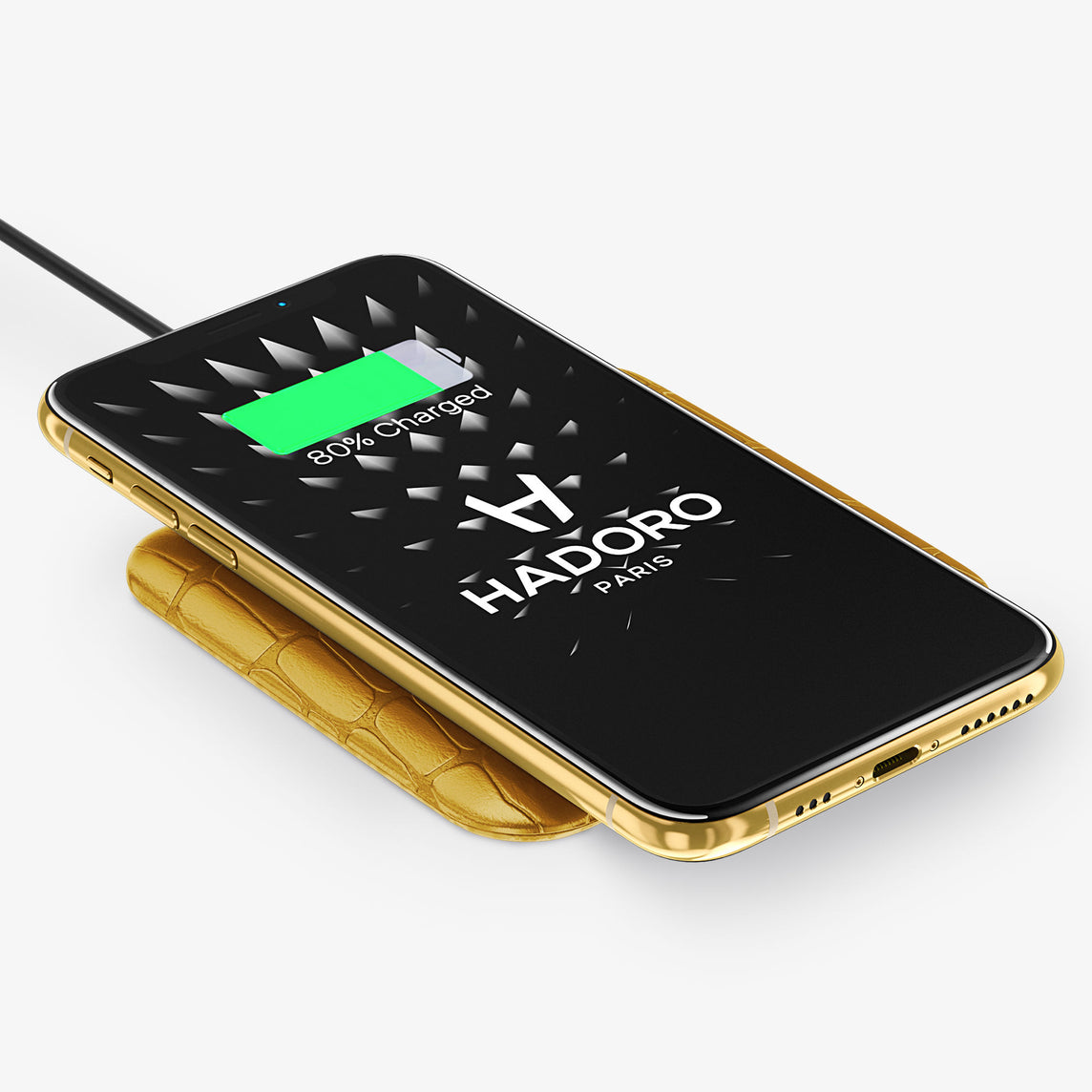 Wireless Charging Pad Alligator | Yellow - Silver Tainted