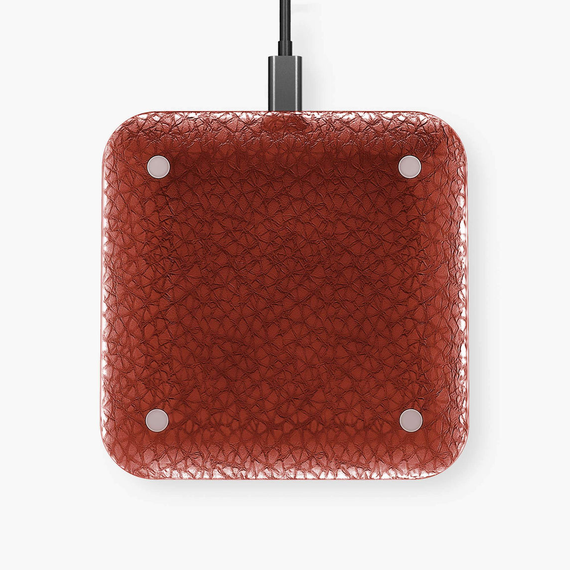 Hadoro Wireless Charging Pad Calfskin | Red - Stainless Steel without-personalization
