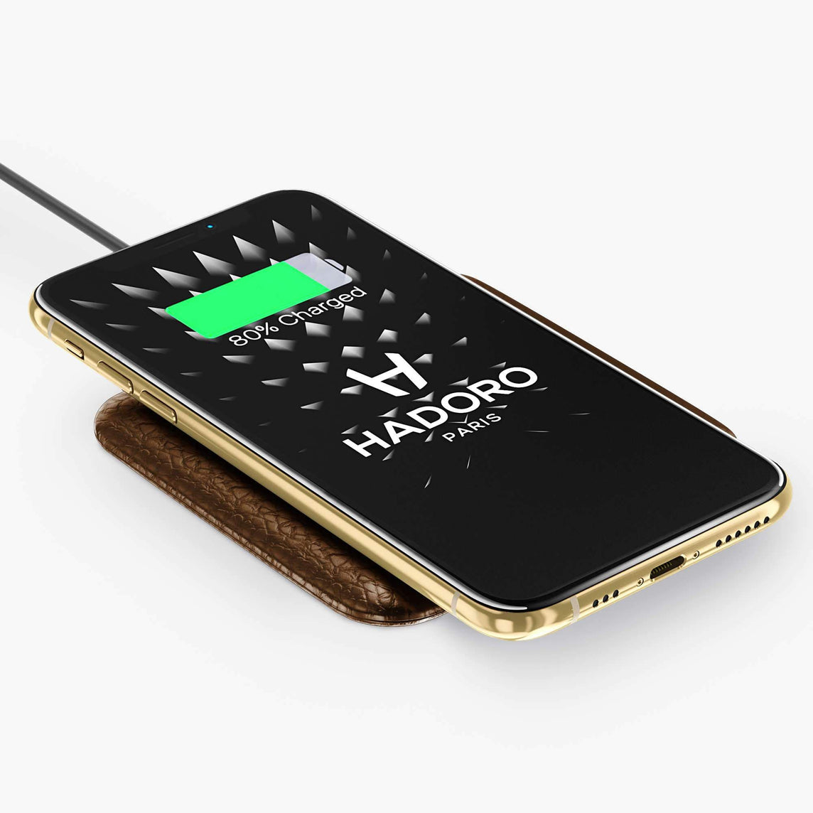 Wireless Charging Pad Calfskin | Brown - Yellow Gold without-personalization