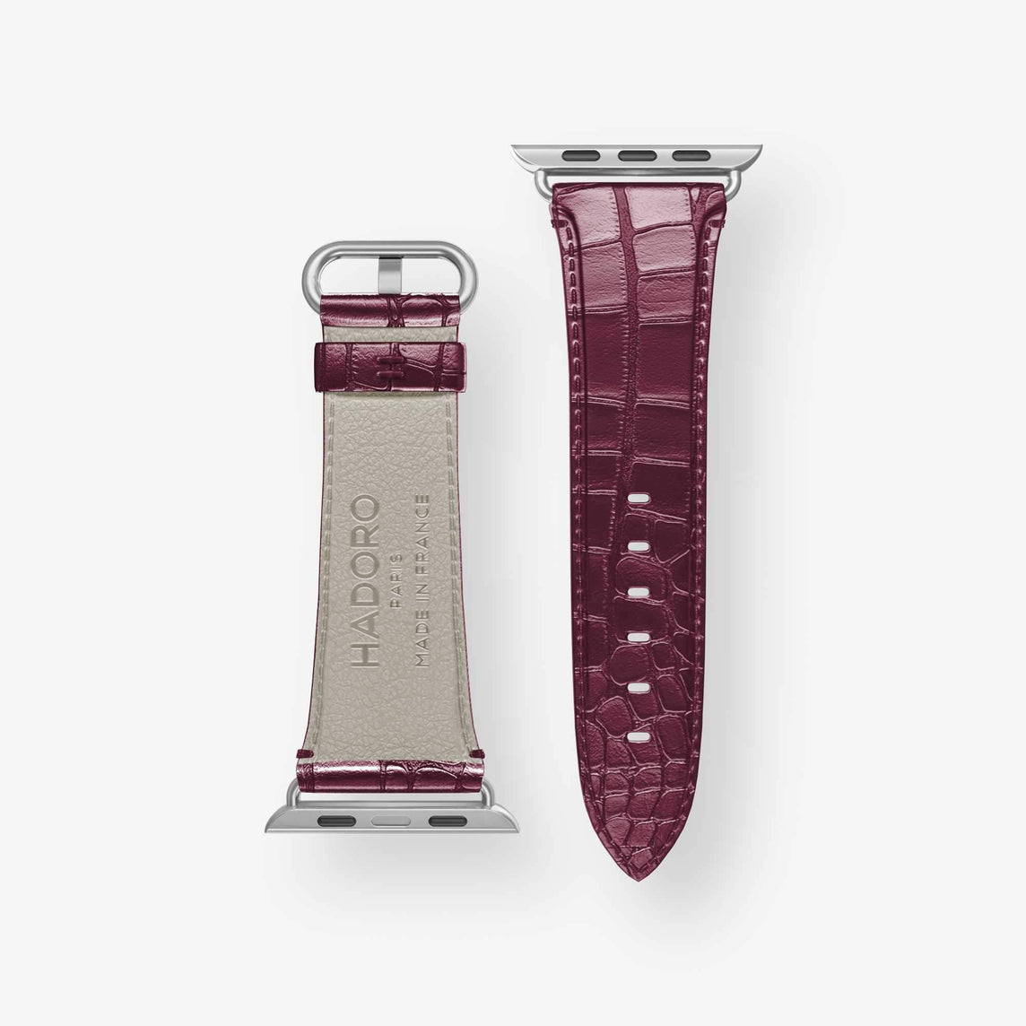 Alligator [Apple Watch Strap] [model:42mm-44mm] [colour:burgundy] [finishing:stainless-steel]