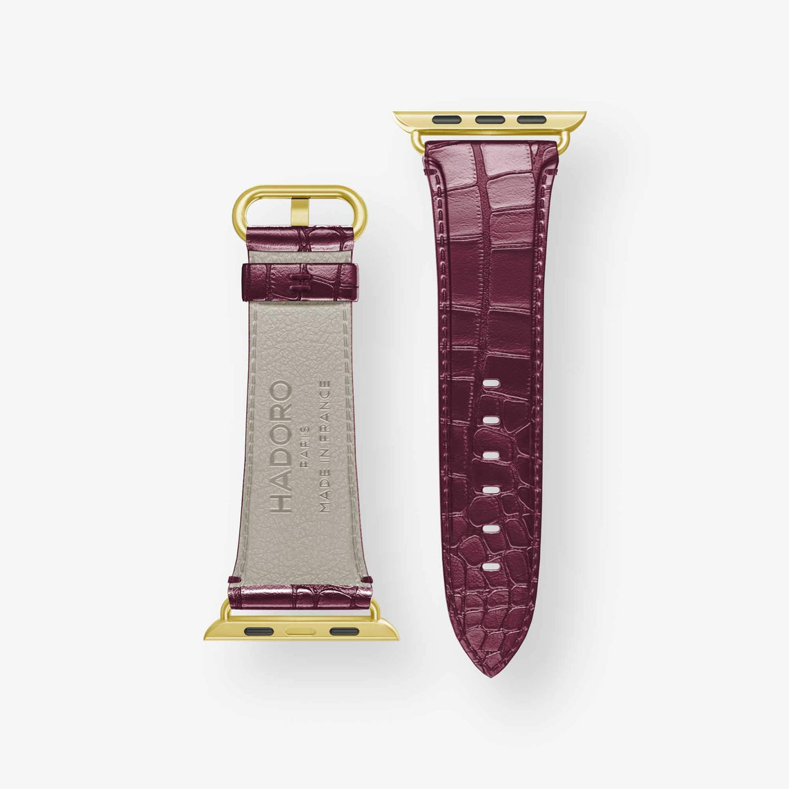 Alligator Apple Watch Strap 42mm-44mm | Burgundy - Yellow Gold