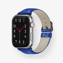 Alligator Apple Watch Strap 38mm-40mm | Peony Blue - Black without-personalization