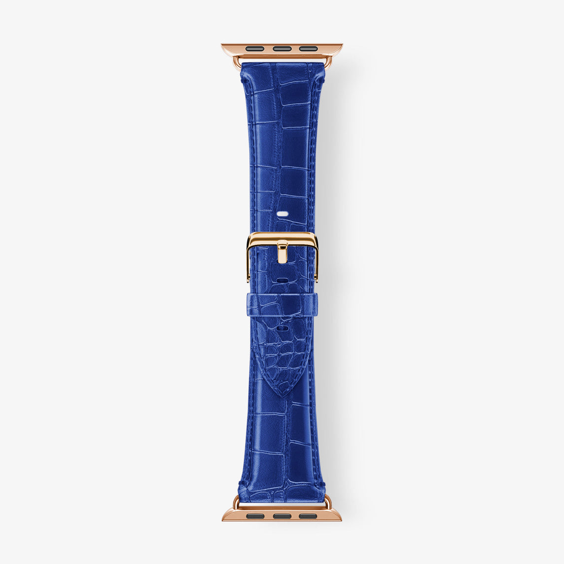 Alligator Apple Watch Strap 38mm-40mm | Peony Blue - Rose Gold