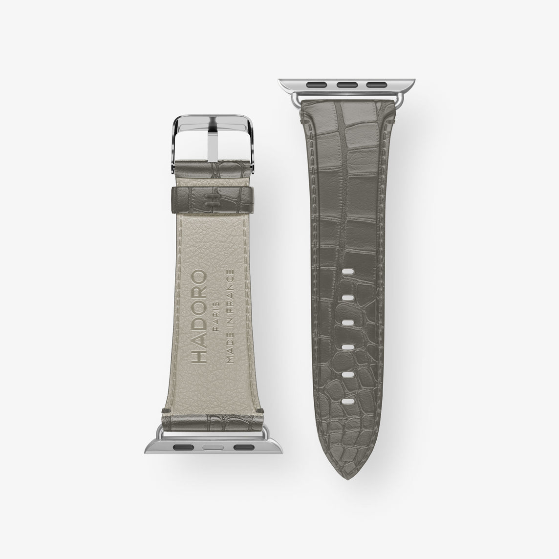 Alligator Apple Watch Strap 42mm-44mm | Pearl Grey - Stainless Steel