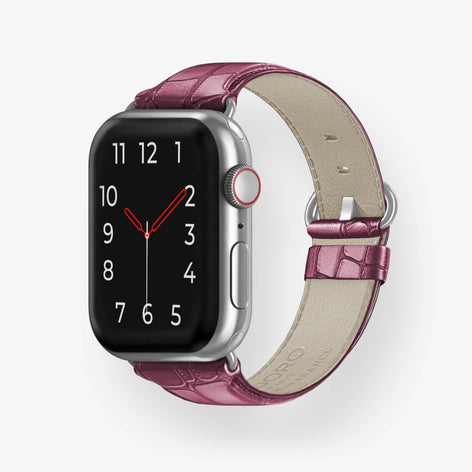 Alligator Apple Watch Strap 38mm-40mm | Burgundy - Stainless Steel without-personalization