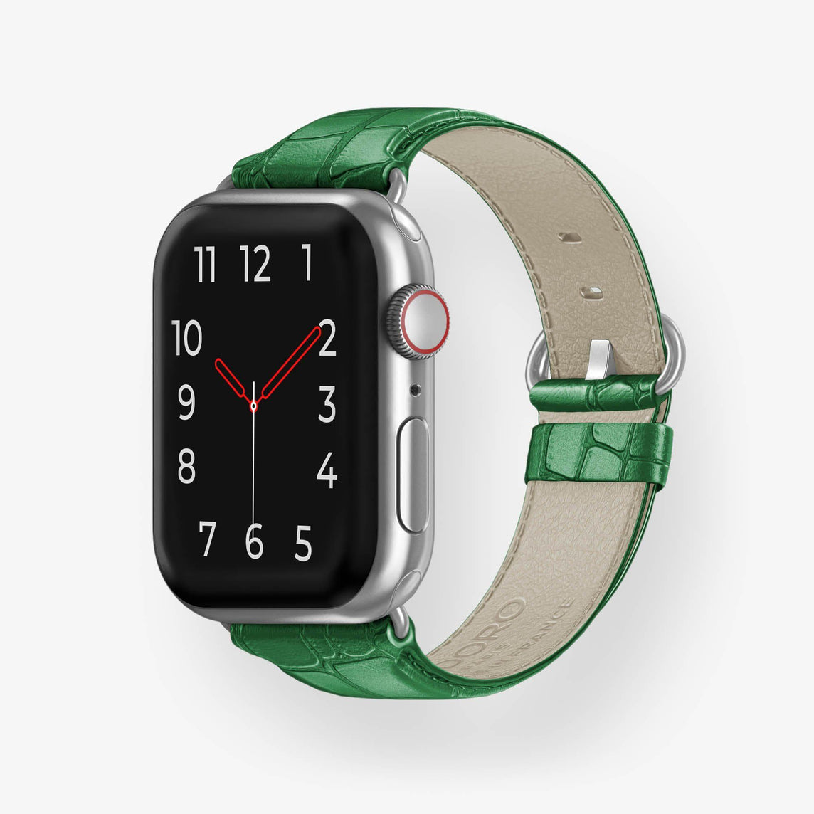 Alligator Apple Watch Strap 42mm-44mm | Green - Stainless Steel without-personalization