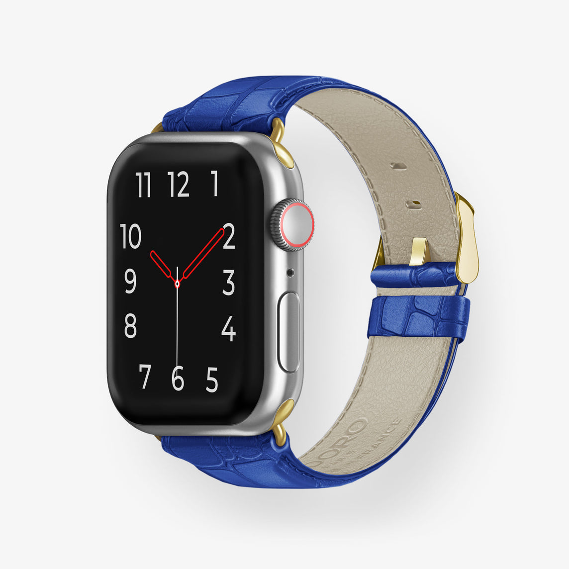 Alligator Apple Watch Strap 38mm-40mm | Peony Blue - Yellow Gold
