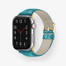 Alligator Apple Watch Strap 38mm-40mm | Blue Teal - Yellow Gold without-personalization