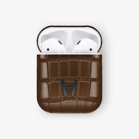 Brown Alligator Hadoro AirPods finishing black - Hadoro Luxury Cases
