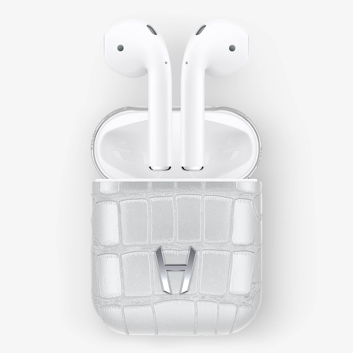 White Alligator Hadoro AirPods finishing stainless steel - Hadoro Luxury Cases