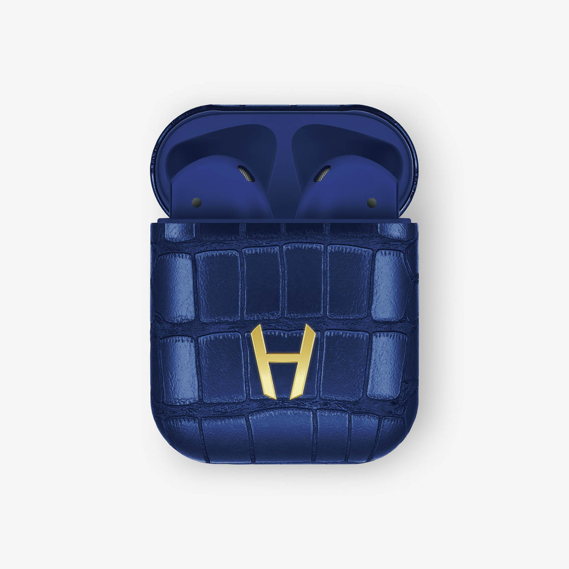 Alligator Hadoro AirPods | Navy blue - Yellow Gold without-personalization