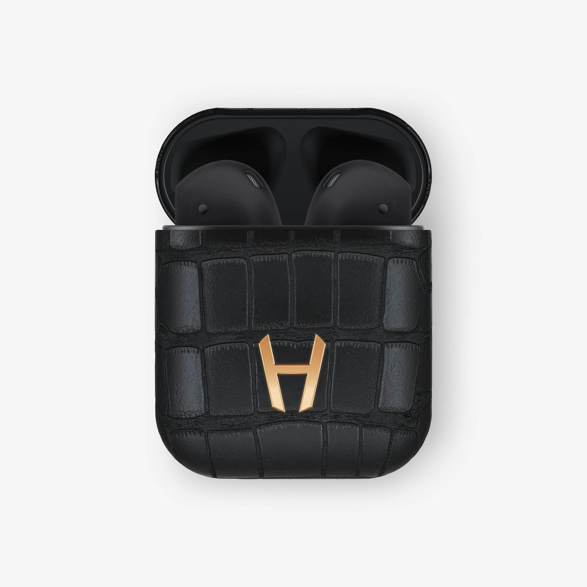 Black Alligator Hadoro AirPods finishing rose gold - Hadoro Luxury Cases