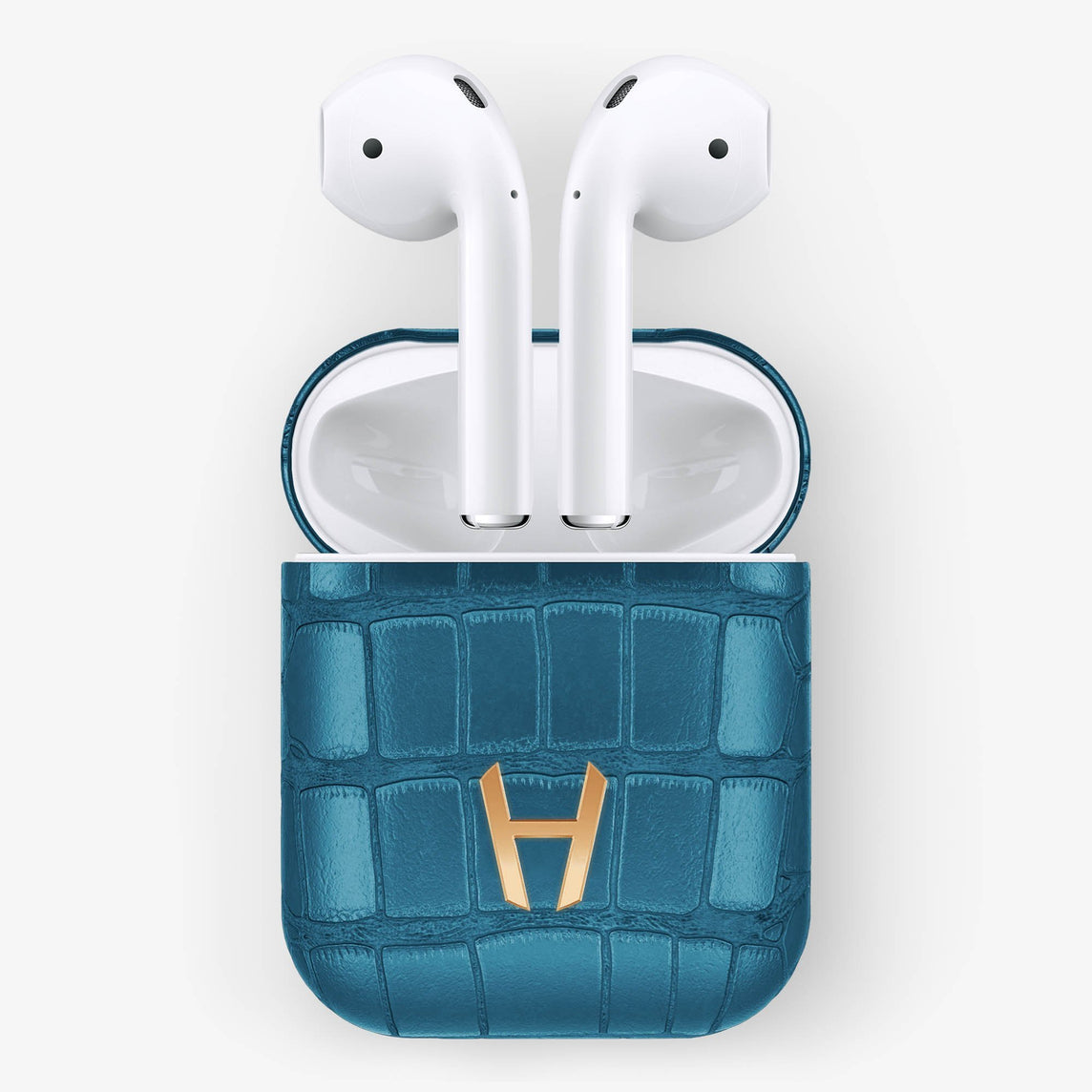 Teal Alligator Hadoro AirPods finishing rose gold - Hadoro Luxury Cases