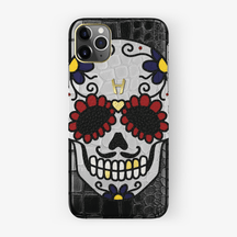 Alligator Case Sugar Skull Edition iPhone 11 Pro Max | Black - Yellow Gold without-personalization