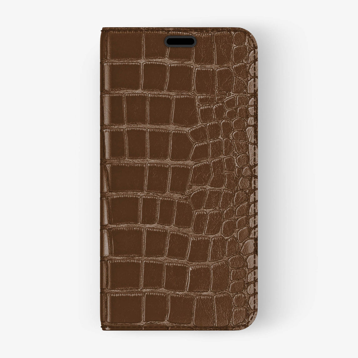 Alligator Folio Case iPhone X/Xs | Brown - Black without-personalization