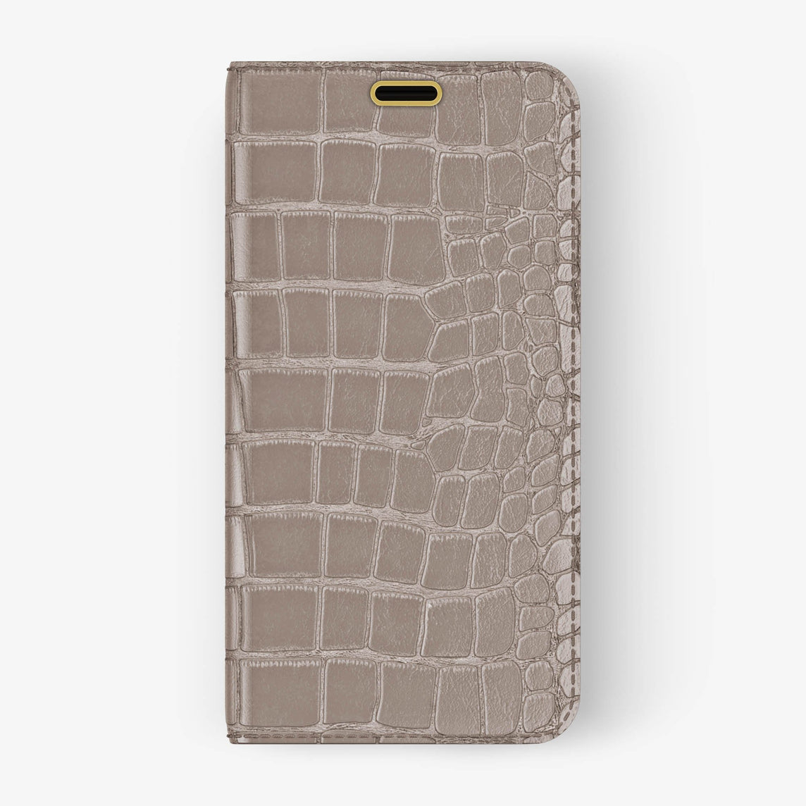 Alligator Folio Case iPhone X/Xs | Latte - Yellow Gold without-personalization
