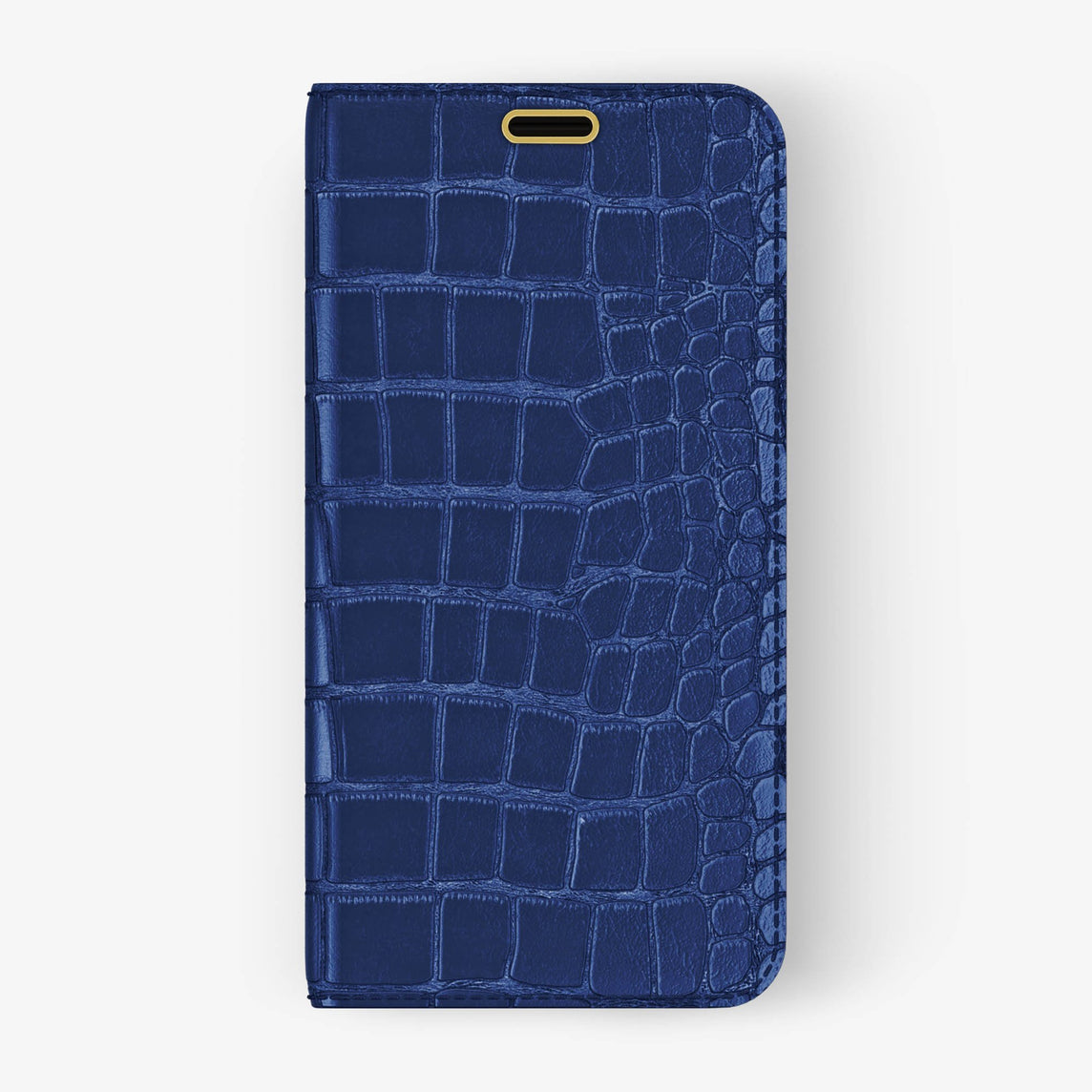 Alligator Folio Case iPhone X/Xs | Navy Blue - Yellow Gold without-personalization
