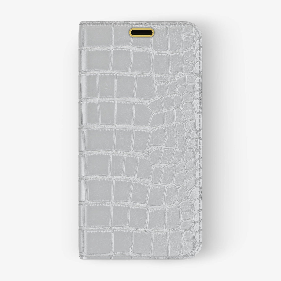 Alligator Folio Case iPhone X/Xs | White - Yellow Gold without-personalization