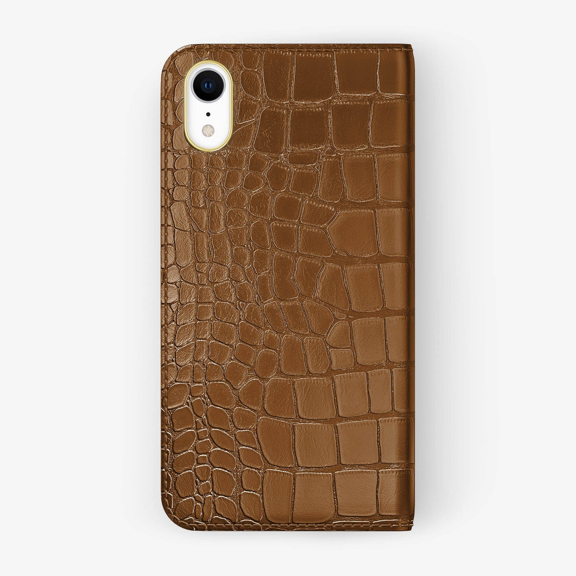 Alligator [iPhone Folio Case] [model:iphone-xr-case] [colour:cognac] [finishing:yellow-gold]