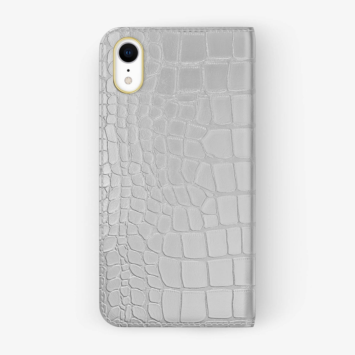 Alligator [iPhone Folio Case] [model:iphone-xr-case] [colour:white] [finishing:yellow-gold]