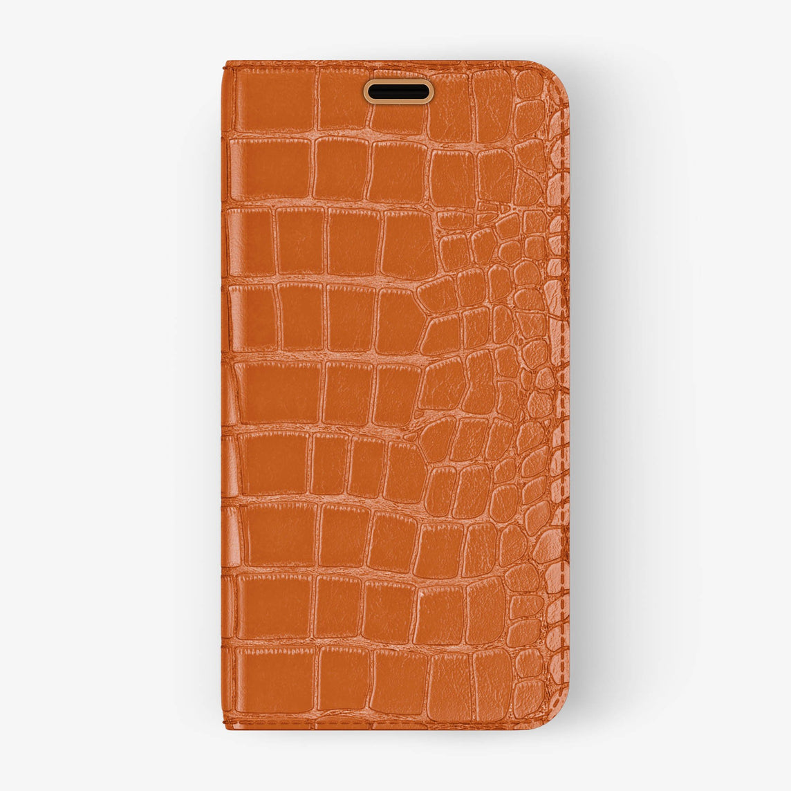 Alligator Folio Case iPhone Xs Max | Orange - Rose Gold without-personalization