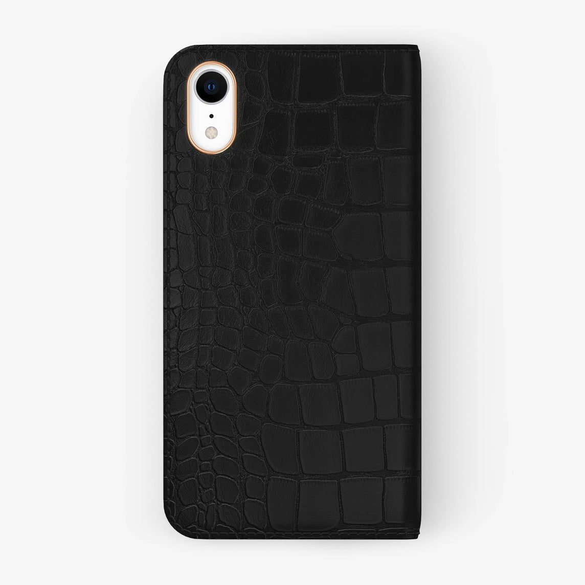 Alligator [iPhone Folio Case] [model:iphone-xr-case] [colour:phantom-black] [finishing:rose-gold]
