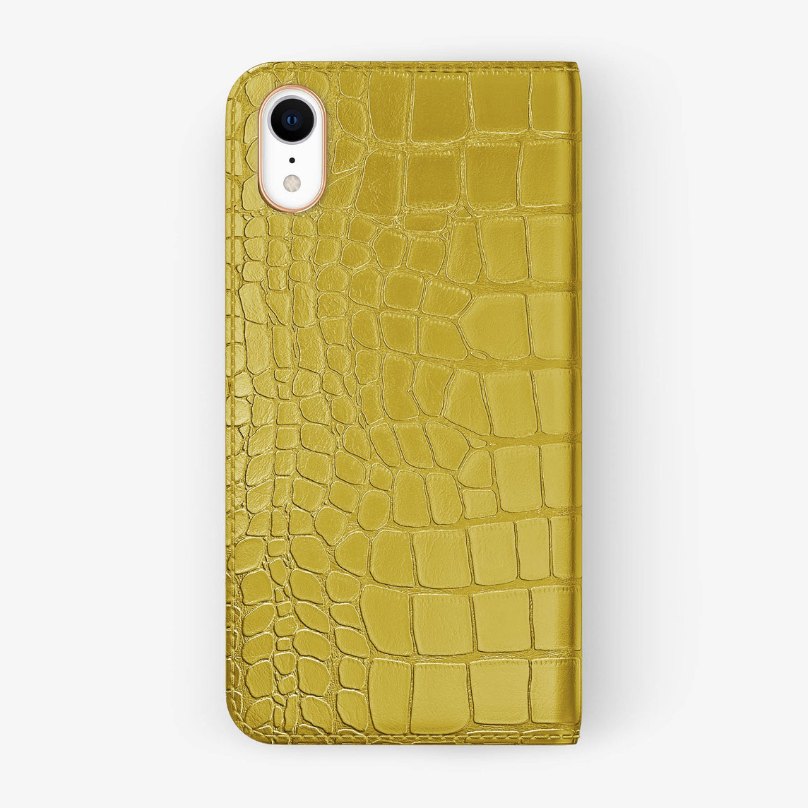 Alligator [iPhone Folio Case] [model:iphone-xr-case] [colour:yellow] [finishing:rose-gold]