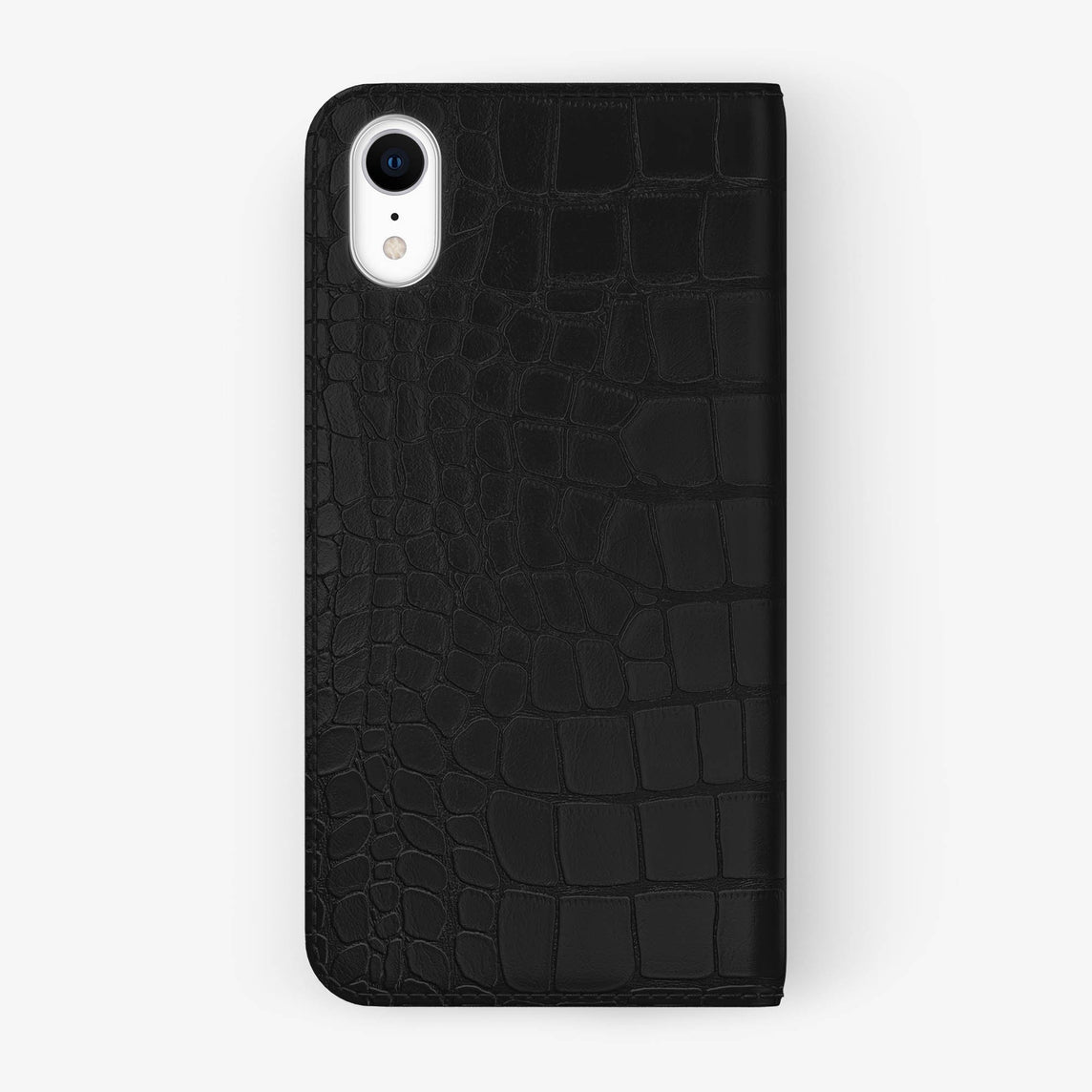 Alligator [iPhone Folio Case] [model:iphone-xr-case] [colour:phantom-black] [finishing:stainless-steel]
