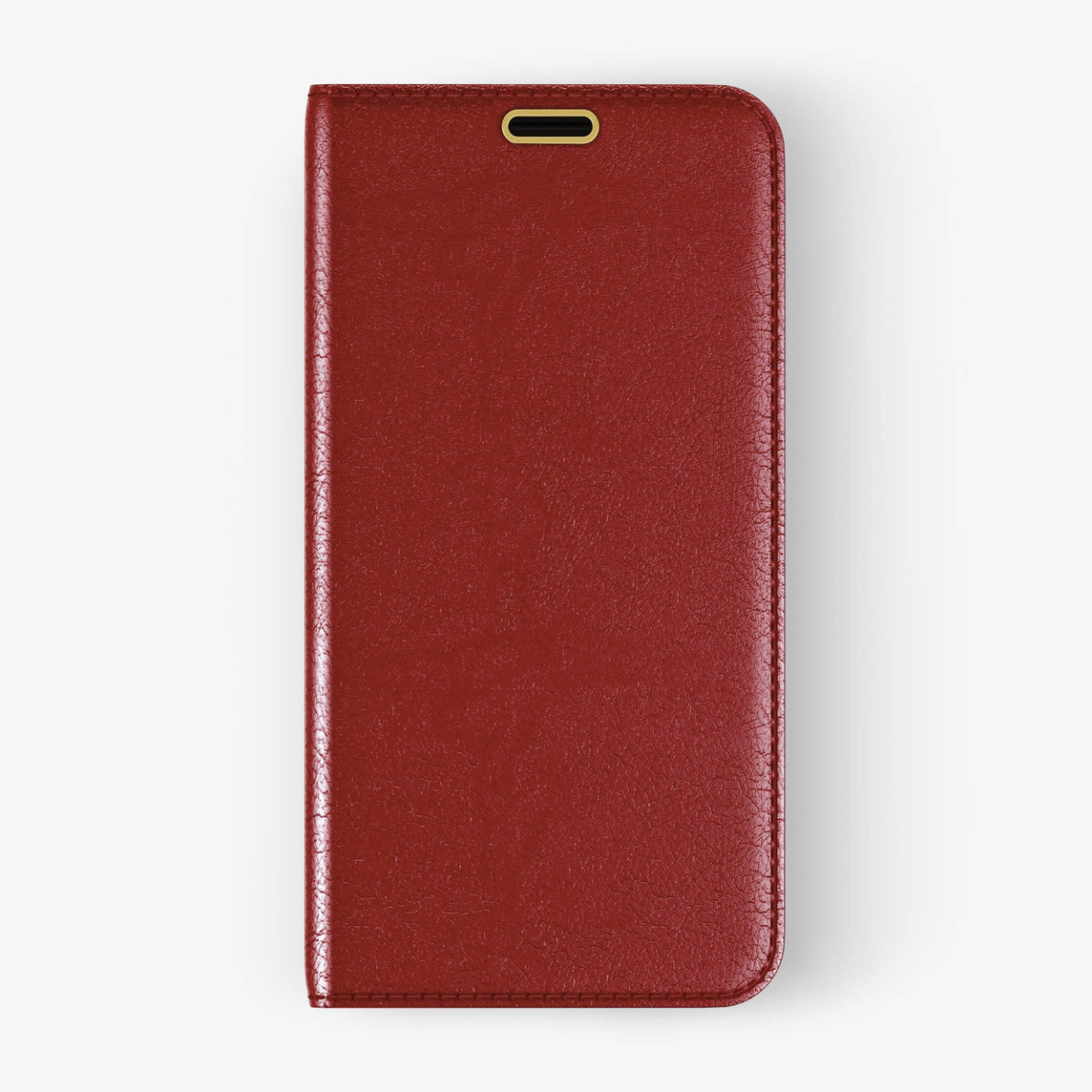 Calfskin Folio Case iPhone Xs Max | Red - Yellow Gold without-personalization