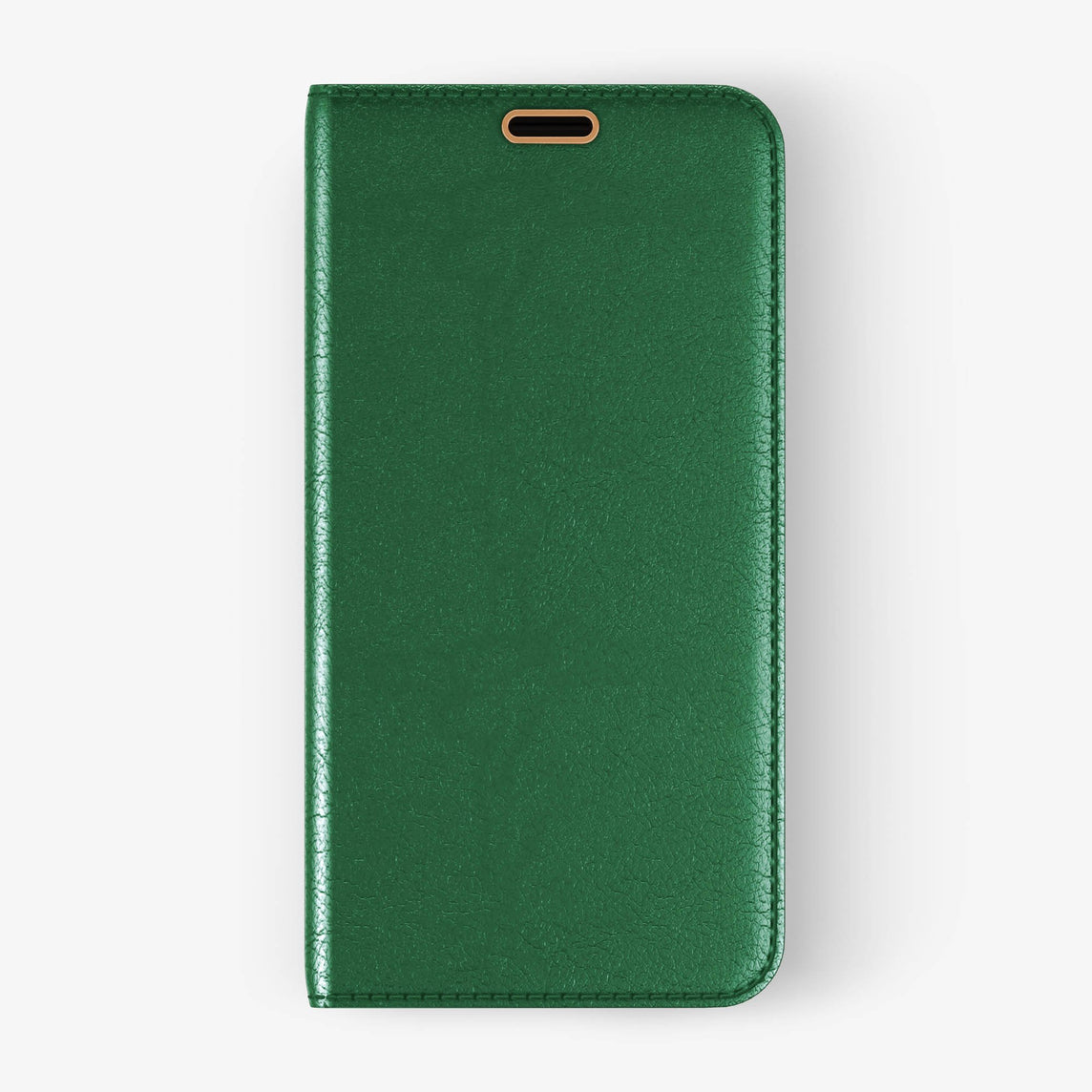 Calfskin Folio Case iPhone Xs Max | Green - Rose Gold