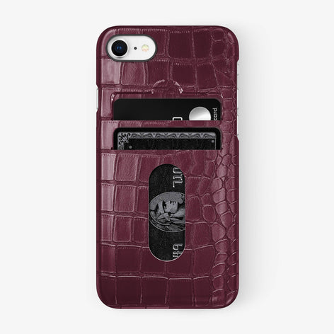 Alligator [iPhone Card Holder Case] [model:iphone-7-8-case] [colour:burgundy] [finishing:black] - Hadoro