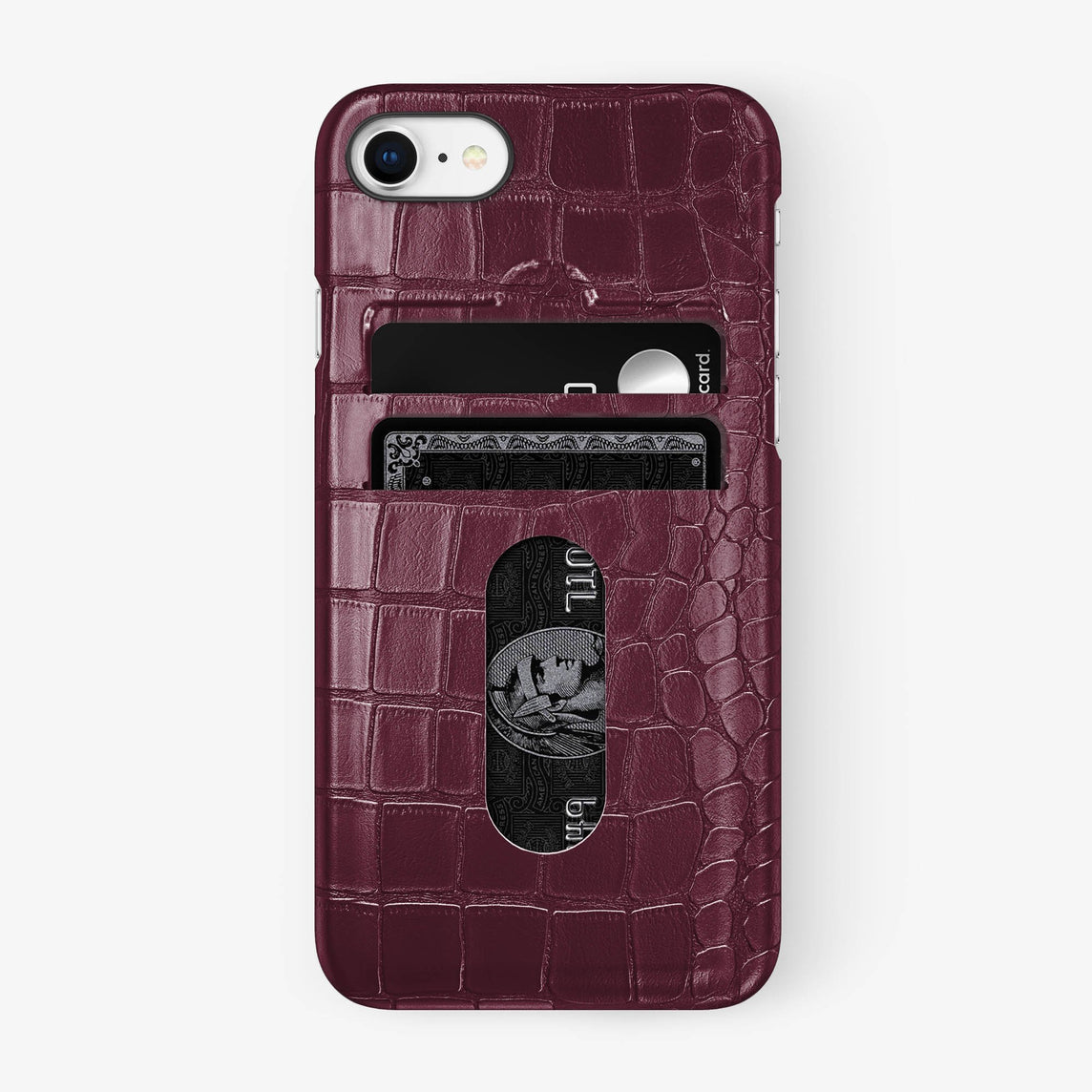 Alligator Card Holder Case iPhone 7/8 | Burgundy - Black - Hadoro