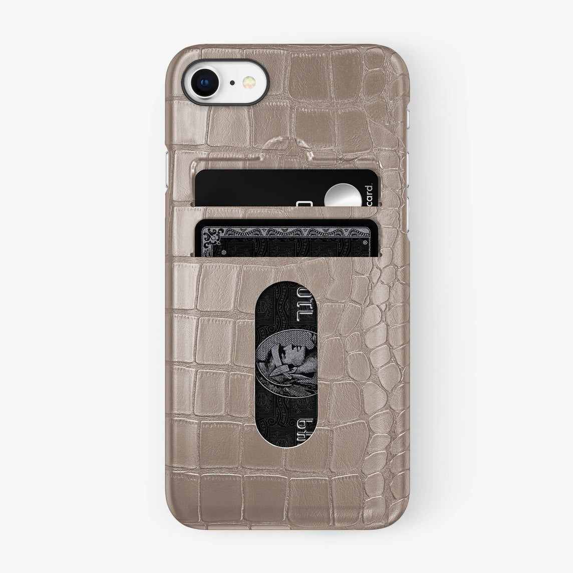 Alligator Card Holder Case iPhone 7/8 | Latte - Black