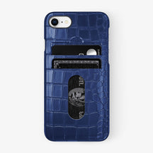 Alligator Card Holder Case iPhone 7/8 | Navy Blue - Black - Hadoro