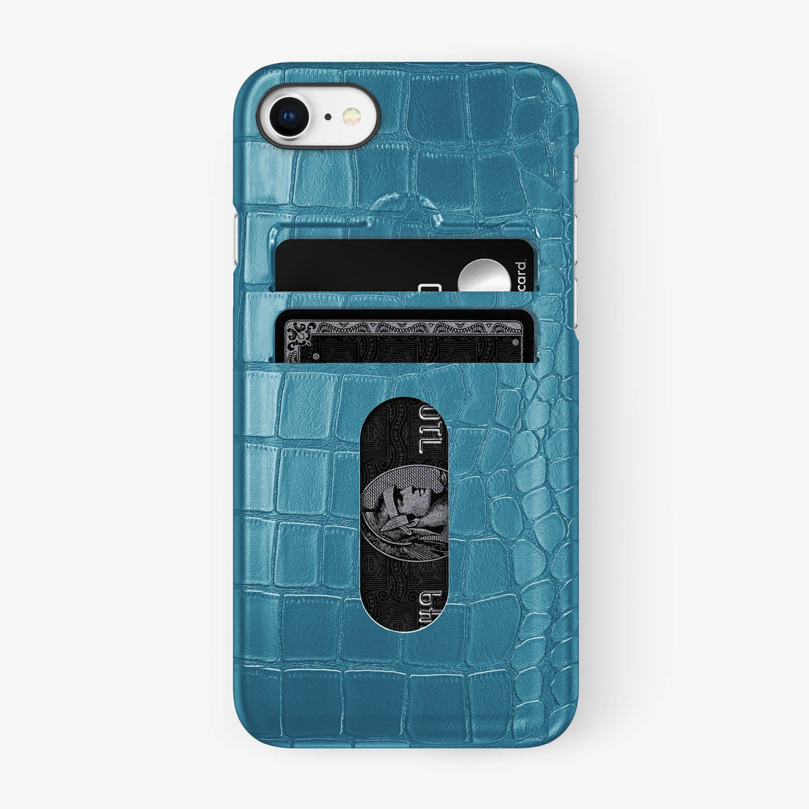Alligator Card Holder Case iPhone 7/8 | Teal - Black
