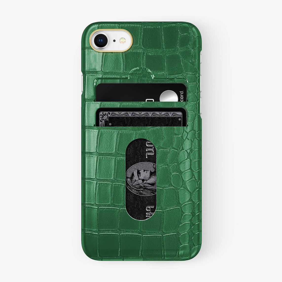 Alligator Card Holder Case iPhone 7/8 | Green - Yellow Gold - Hadoro