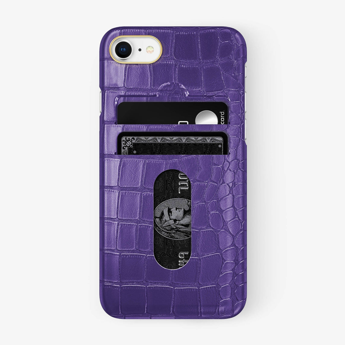 Alligator Card Holder Case iPhone 7/8 | Purple - Yellow Gold - Hadoro