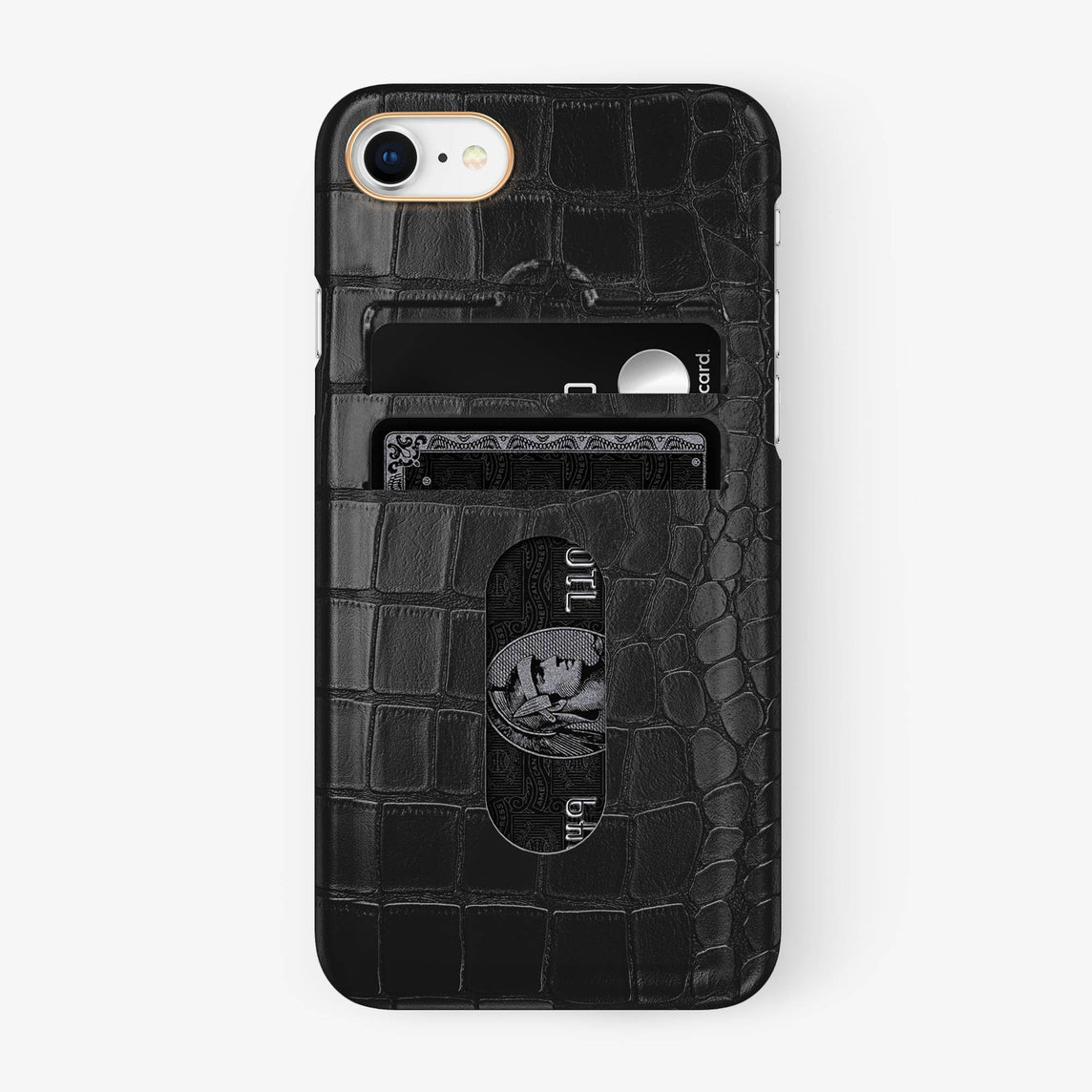 Alligator Card Holder Case iPhone 7/8 | Black - Rose Gold