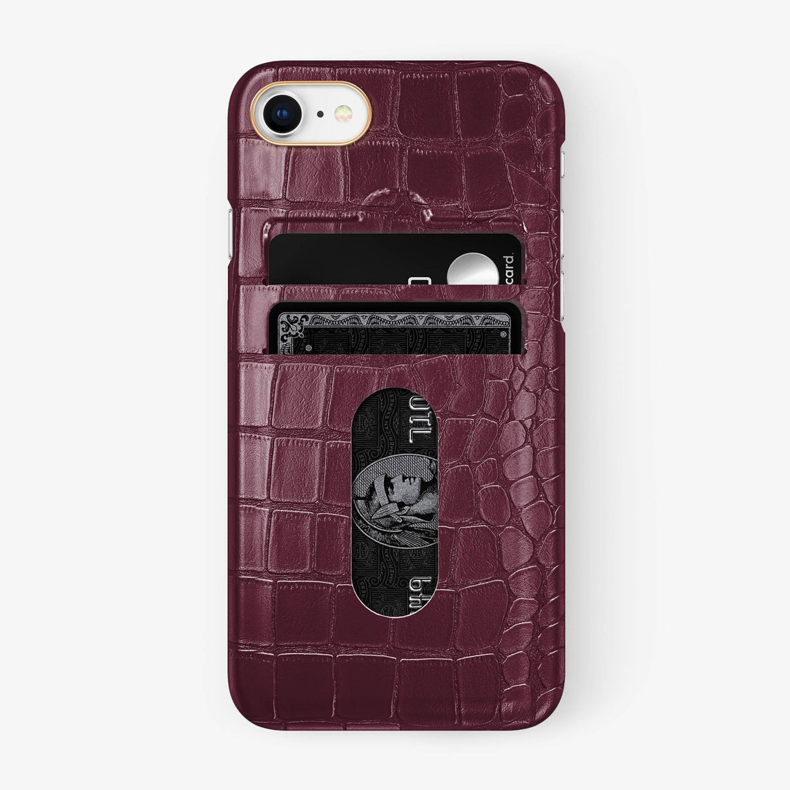 Alligator Card Holder Case iPhone 7/8 | Burgundy - Rose Gold - Hadoro