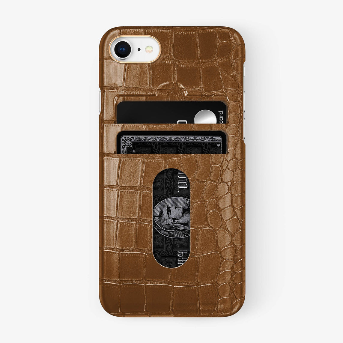 Alligator Card Holder Case iPhone 7/8 | Cognac - Rose Gold