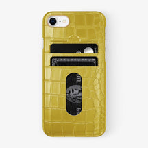 Alligator Card Holder Case iPhone 7/8 | Yellow - Rose Gold