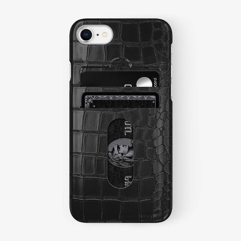Alligator Card Holder Case iPhone 7/8 | Black - Stainless Steel - Hadoro