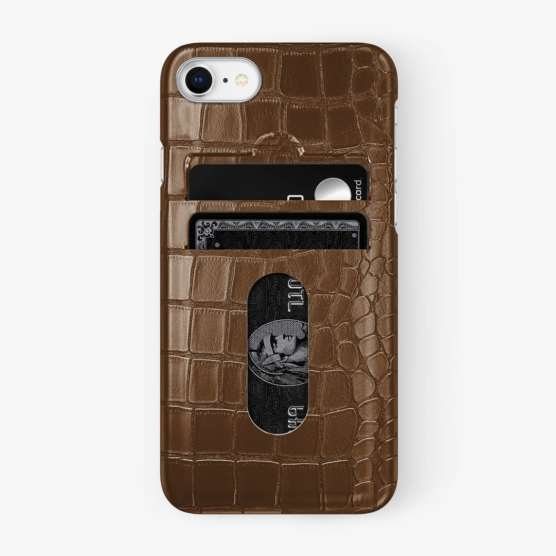 Alligator Card Holder Case iPhone 7/8 | Brown - Stainless Steel - Hadoro