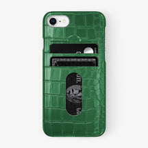 Alligator Card Holder Case iPhone 7/8 | Green - Stainless Steel - Hadoro