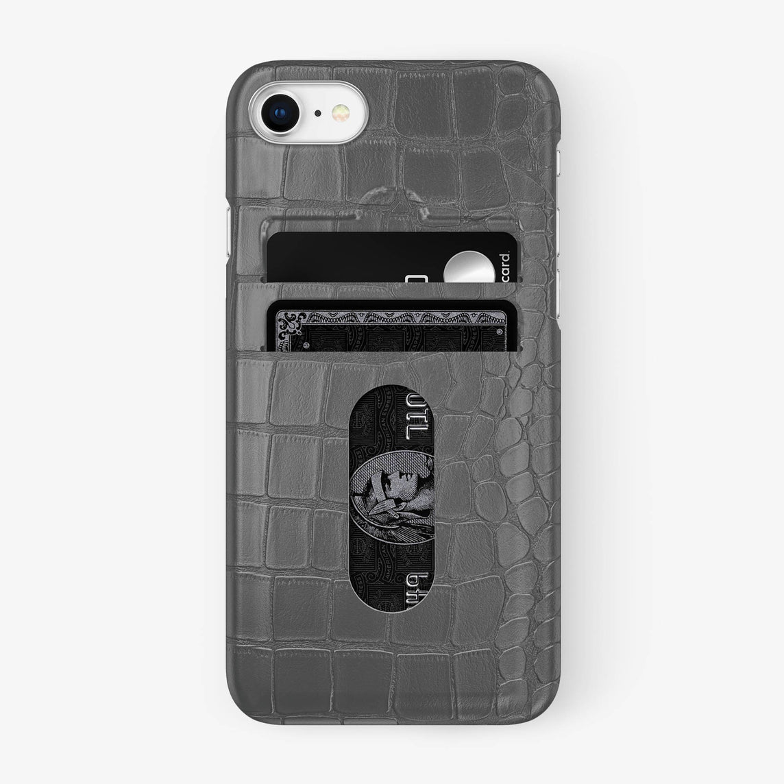 Alligator Card Holder Case iPhone 7/8 | Grey - Stainless Steel - Hadoro